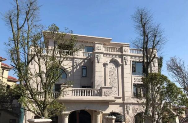 别墅黄金麻石材外墙效果图及实景图案例